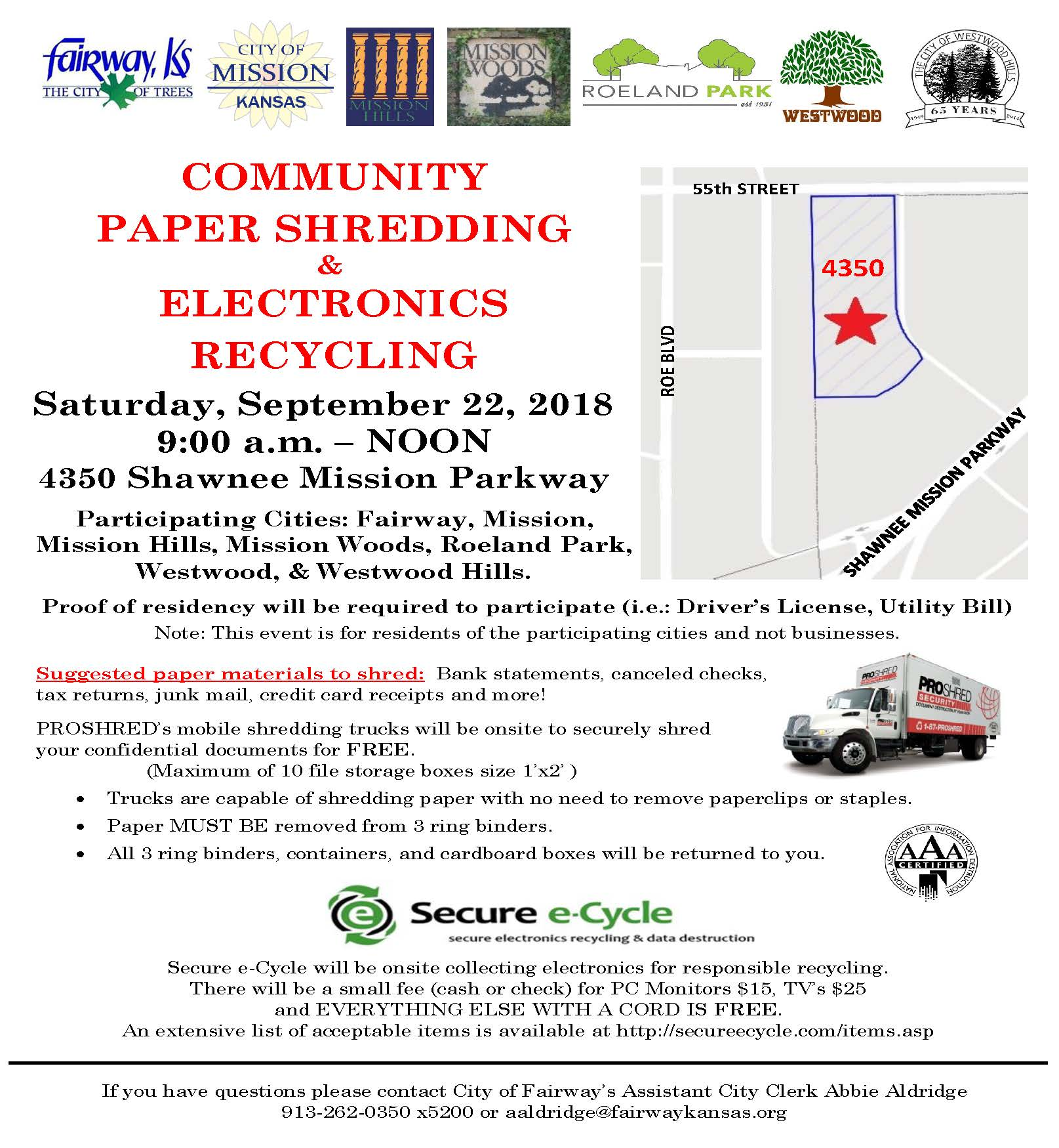 2018 Community Paper Shredding and Electronics Recycling